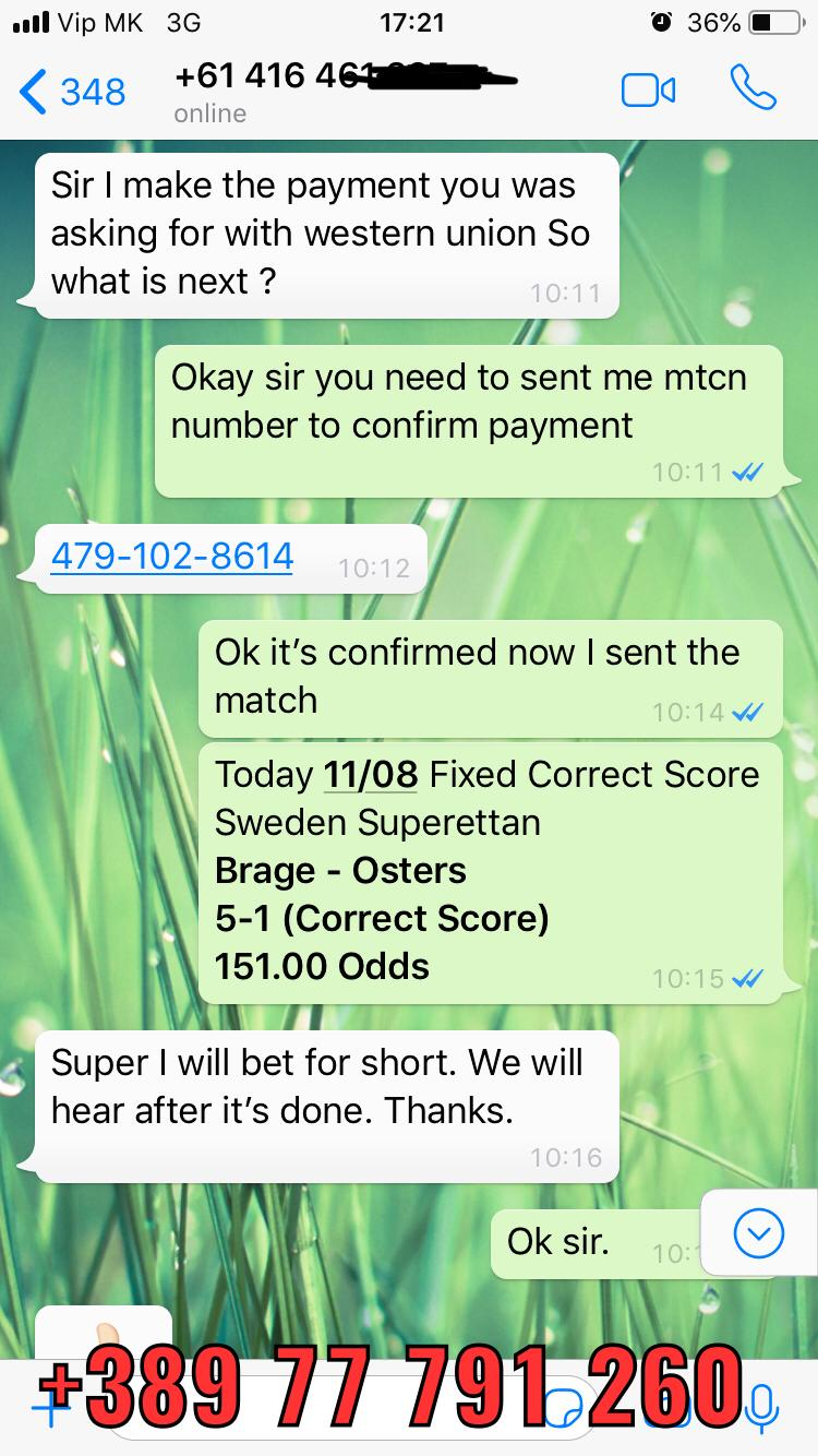 Correct Score Fixed Matches Won 11 08 151 odd