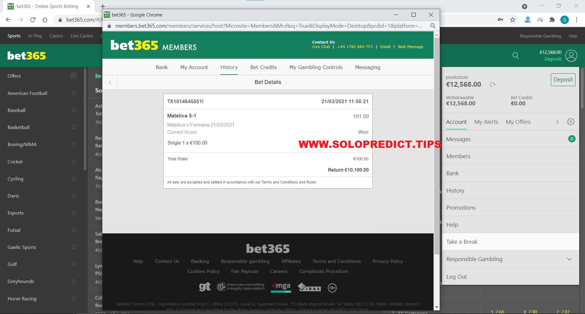 SOLOBET SOLO PREDICTION FIXED MATCHES WON CORRECT SCORE