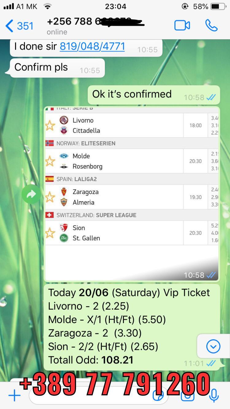 VIP TICKET BETSLIP WON 20 06