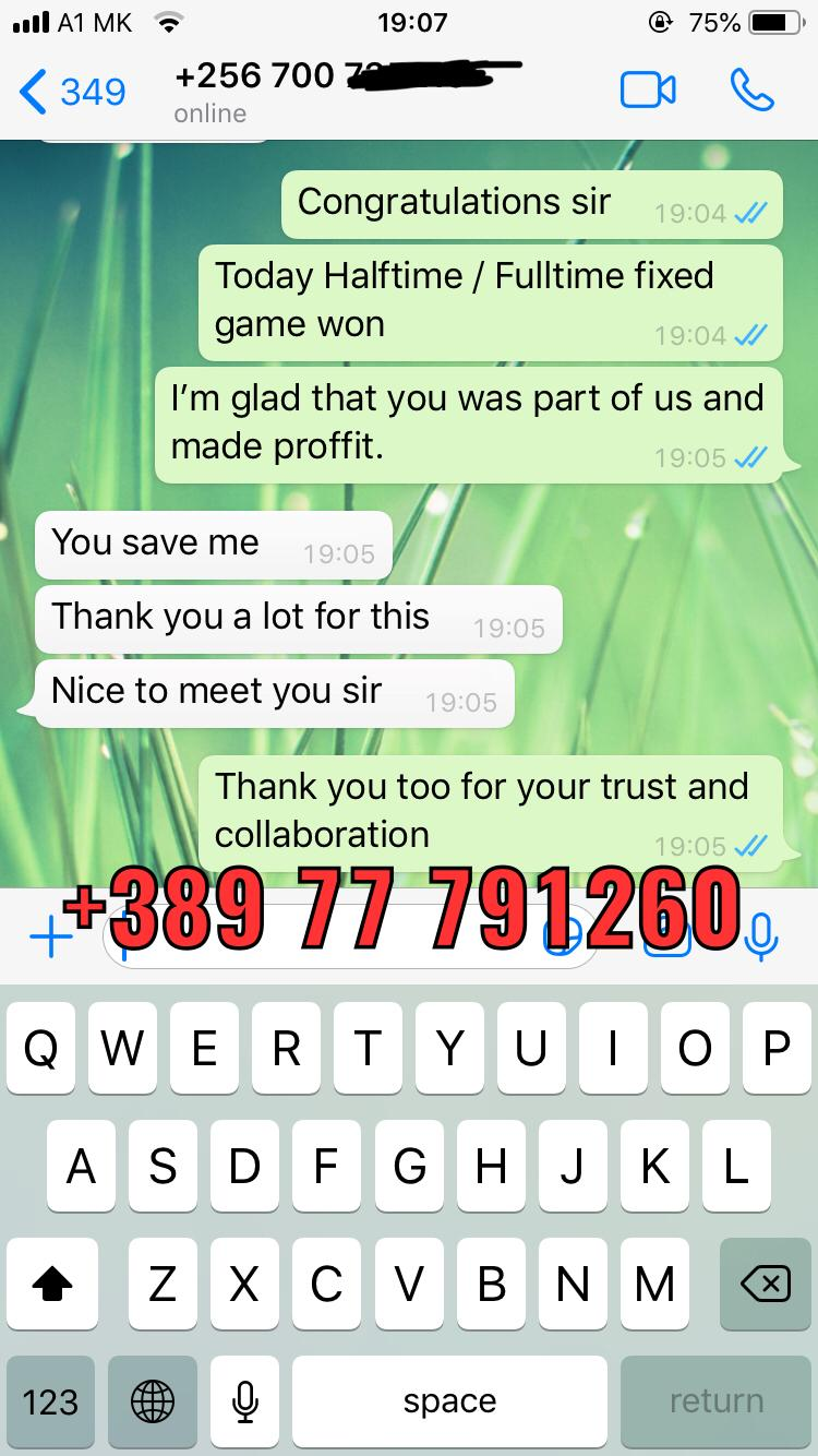 WhatsApp fixed matches proof