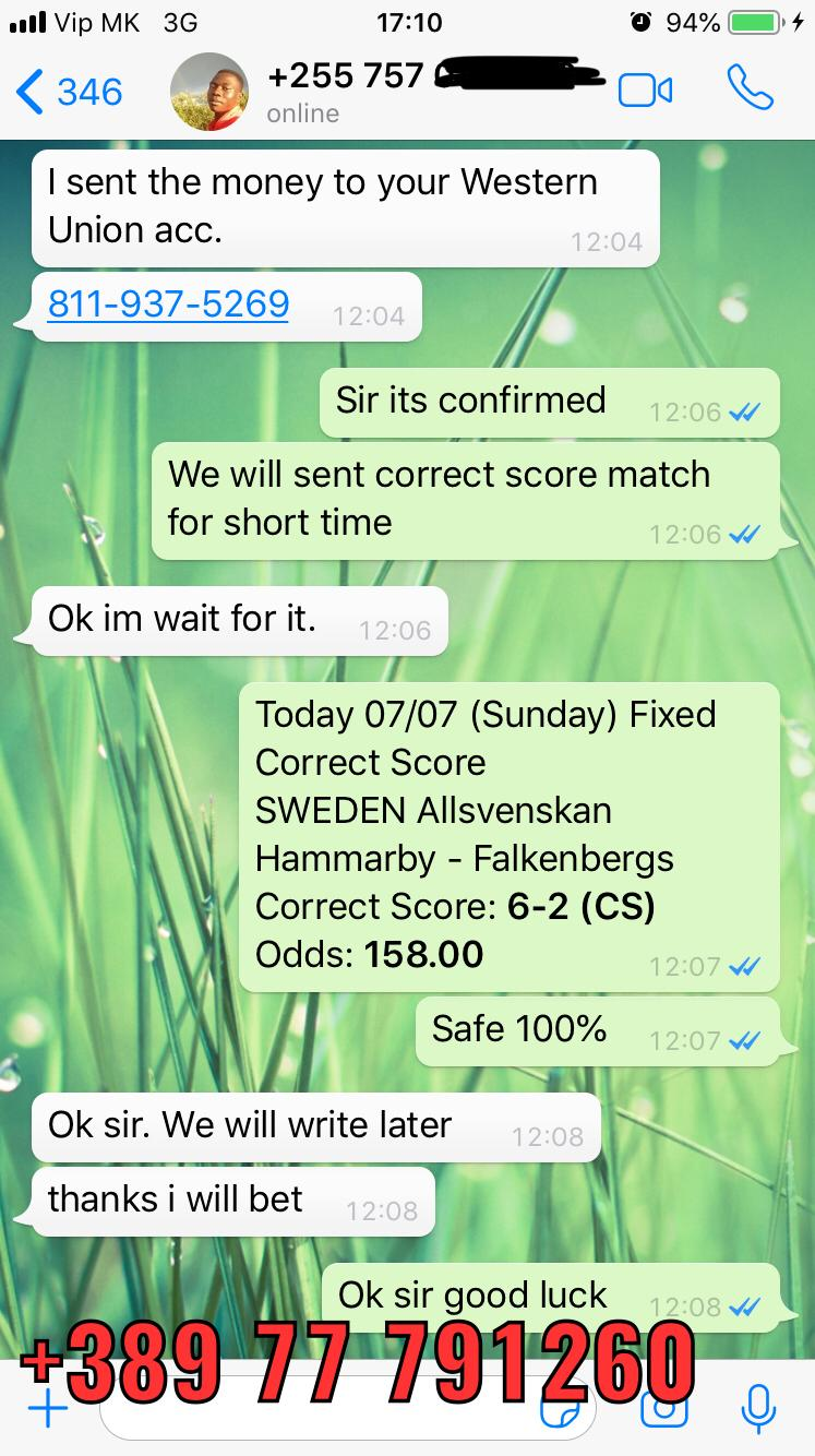 fixed correct score matches won 07 07