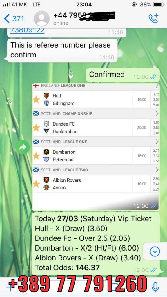 fixed matches 27 03 won combo ticket vip