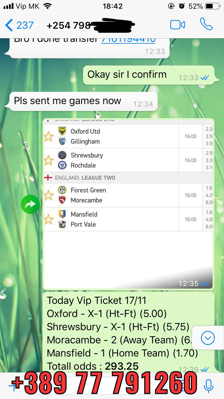 fixed matches combo vip ticket won 17 11