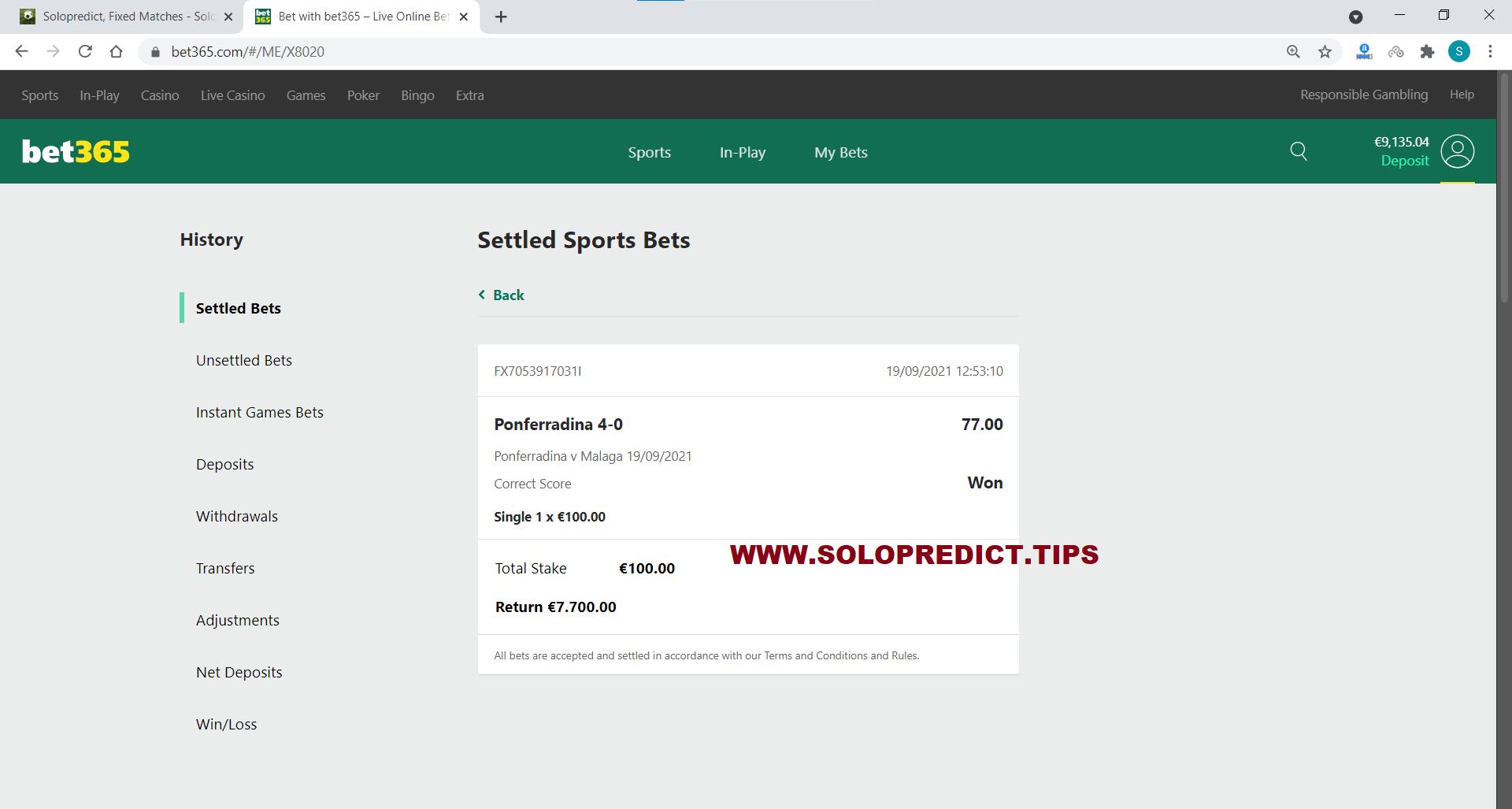 solopredict correct score fixed matches won 19 09