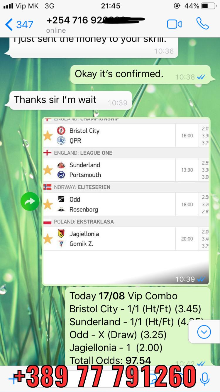 vip combo fixed matches won 97 odds 1708