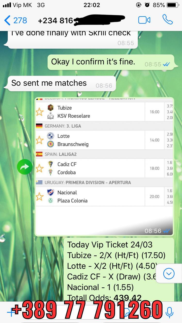 vip ticket fixed matches won 24 03