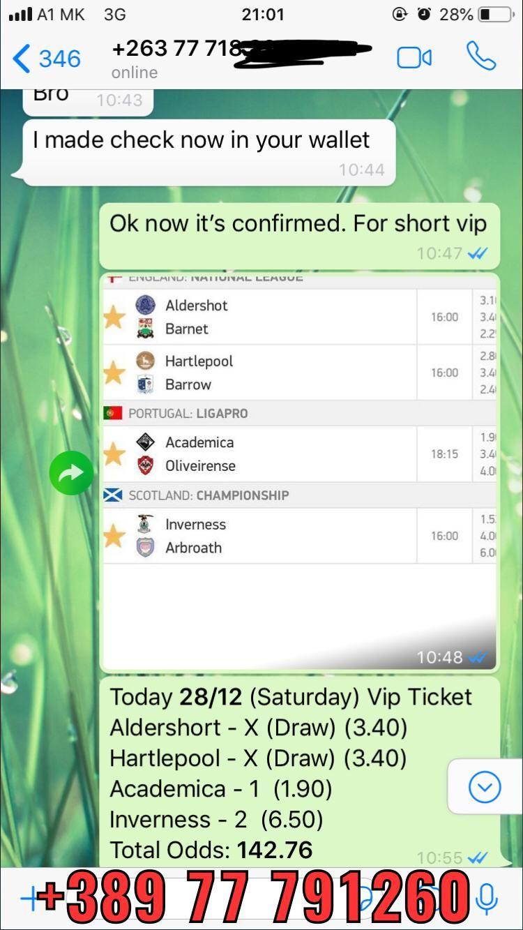 vip ticket won 142 odd 28 12